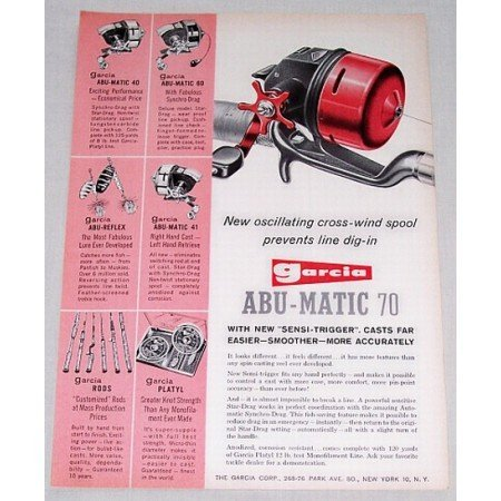 1960 Garcia Abu Matic 70 Casting Reel Color Print Ad