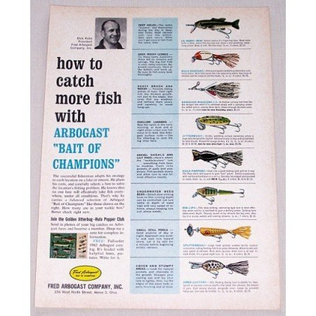 1962 Fred Arbogast Co. Fishing Tackle Color Print Ad
