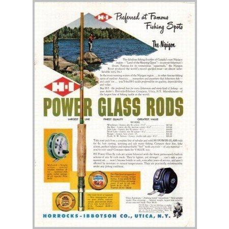 1952 H-I Power Glass Rods Color Print Ad - Canada Nipigon