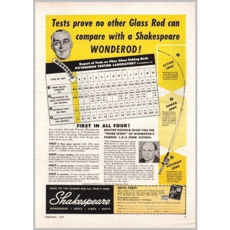 1952 Shakespeare Zone Action Wonder Rod Fishing Rod Color Print Ad