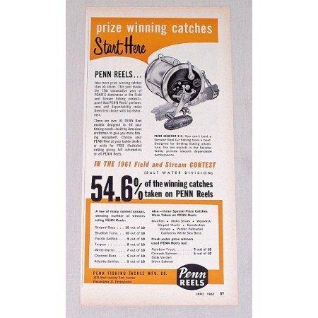 1962 Penn Senator 9/0 Fishing Reel Color Print Ad