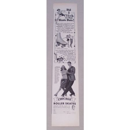 1950 Chicago Roller Skates Vintage Print Ad - Skate Date