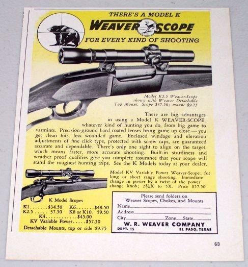 1951 Weaver Scope Model K2.5 Top Mount Vintage Print Ad