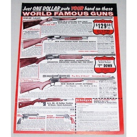 1961 Klein's Shotguns Browning Marlin Color Print Ad