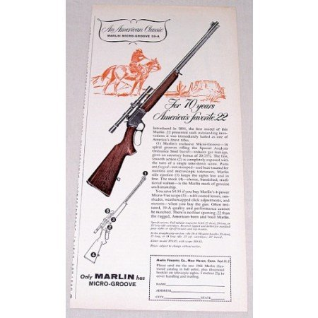 1961 Marlin Micro Groove 39-A .22 Rifle Color Print Ad - 70 Years