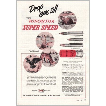 1953 Winchester Super Speed Shells Color Print Ad - Wild Game