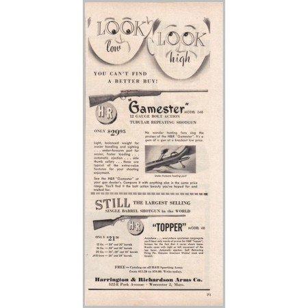 1950 Harrington Richardson Model 48 348 Shotguns Vintage Print Ad