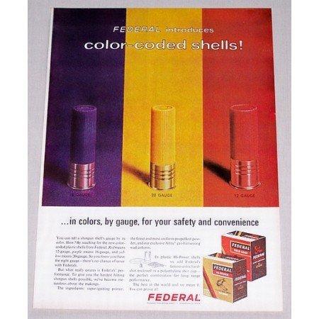 1966 Federal Shotgun Shells Color Coded Shell Color Print Ad