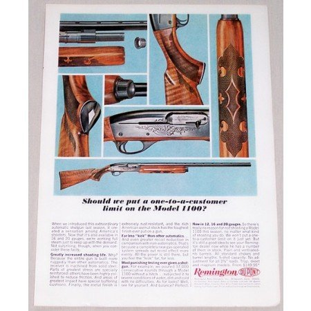 1964 Remington Model 1100 Shotgun Color Print Ad