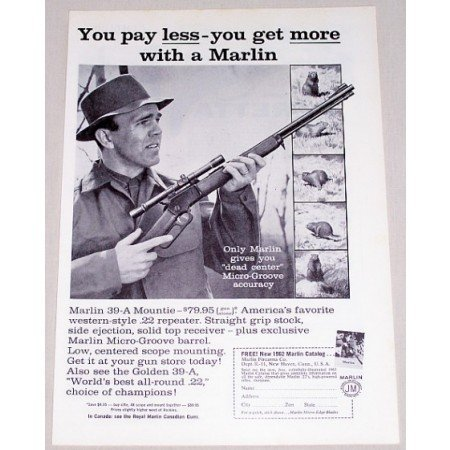1962 Marlin 39-A Mountie .22 Rifle Vintage Print Ad - Dead Center