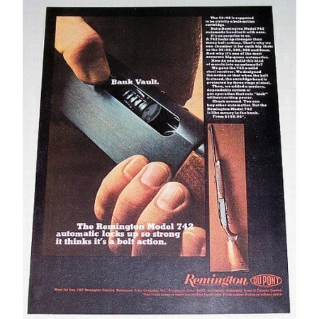 1967 Remington 742 Automatic Shotgun Color Print Ad