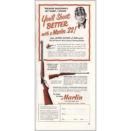 1951 Marlin .22 Repeater and Automatic Rifles Color Print Ad