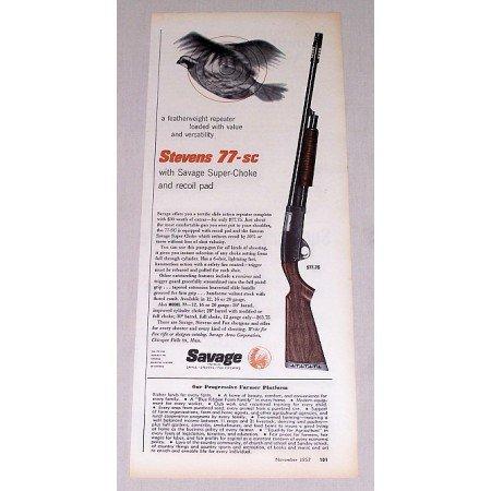 1957 Savage Stevens 77-SC Super Choke Shotgun Color Print Ad