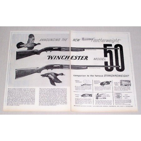 1956 Winchester Model 50 Shotgun 2 Page Vintage Print Ad