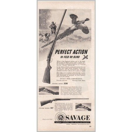 1950 Savage Stevens Model 107 and 530 Shotguns Vintage Print Ad