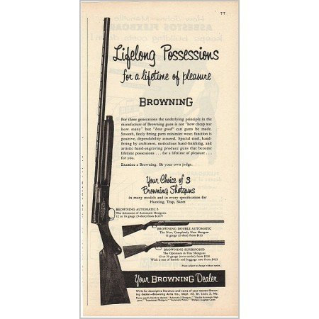 1955 Browning Shotguns Automatic 5 Superposed Vintage Print Ad