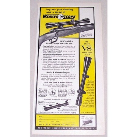 1961 Weaver Scope Model K Rifle Scope Color Print Ad