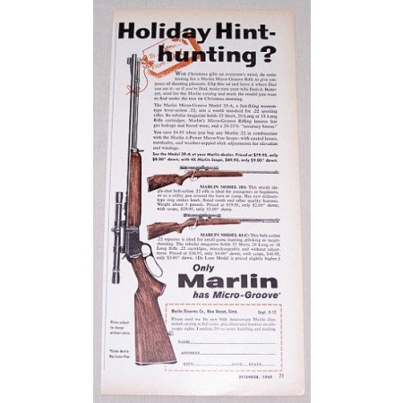 1960 Marlin Rifles Model 39-A, 101, 81-C Color Print Ad