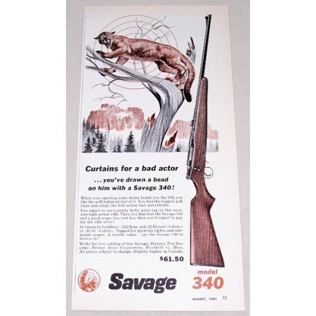 1961 Savage Model 340 High Power Rifle Color Print Art Ad