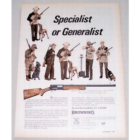 1967 Browning 3 Magnum 20 Gauge Shotgun Color Print Ad
