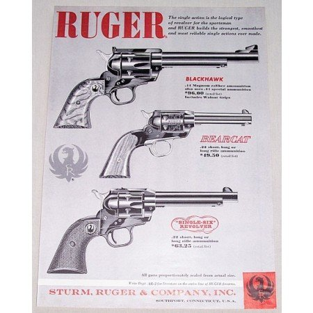 1961 Ruger Pistols Blackhawk Breacat Single 6 Gun Vintage Print Ad