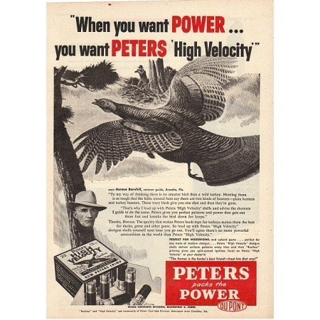 1955 Peters High Velocity Gun Shells Wild Turkey Art Vintage Print Ad