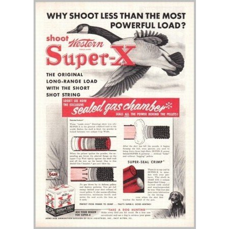 1952 Western Super X Long Range Shotgun Shells Color Print Ad