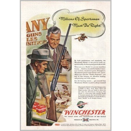 1950 Winchester Model 12 Shotgun Cassell Art Color Print Ad