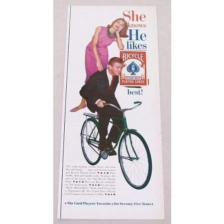 1961 Bicycle Rider Back Playing Cards Color Print Ad - Pink Dress