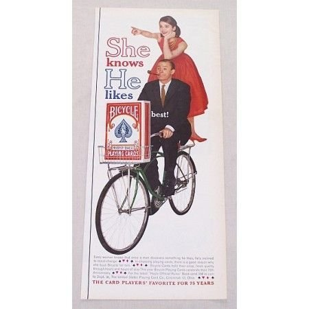1961 Bicycle Rider Back Playing Cards Vintage Print Ad - Red Dress