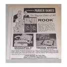 1960 Parker Brothers Board Games Vintage Print Ad - Rook Monopoly