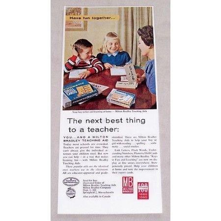1960 Milton Bradley Teaching Aids Games Color Print Ad