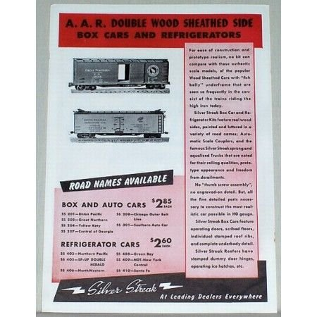 1950 Silver Streak Box Cars Toy Trains Color Print Ad