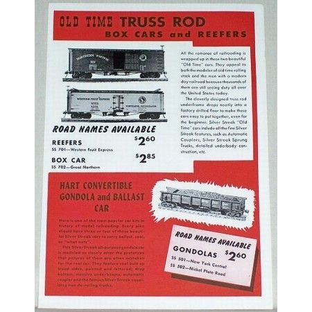 1950 Silver Streak Old Time Truss Rod Box Cars Color Print Ad