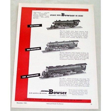 1950 Bowser HO Scale Locomotives Train Vintage Print Ad