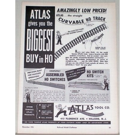 1951 Atlas Tool Co HO Scale Train Track Accessories Ad