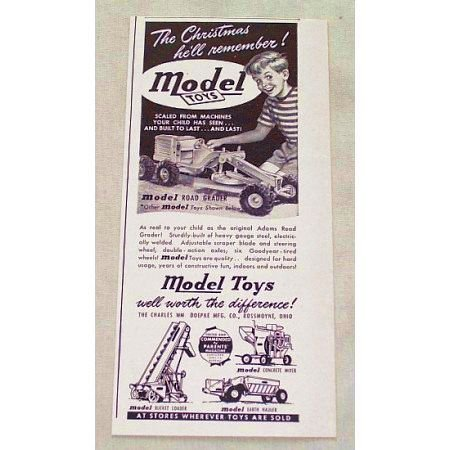 1948 Model Toys Adams Pressed Steel Road Grader Vintage Print Ad
