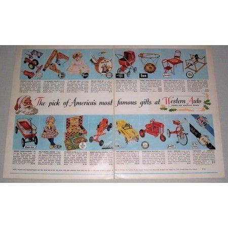 1954 Western Auto Vintage Toys 2 Page Color Print Ad