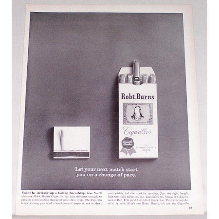 1962 Robt. Burns Cigarillos Tobacco Vintage Print Ad - Last Match