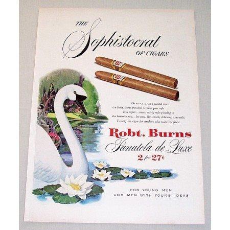 1951 Robt. Burns Panatela Deluxe Cigars Color Print Swan Art Ad
