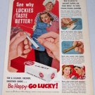1952 Lucky Strike Cigarettes Vintage Color Print Tobacco Ad