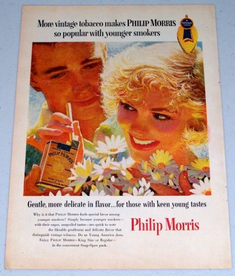 1955 Philip Morris Cigarettes Color Tobacco Art Print Ad