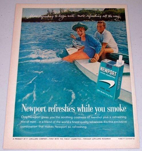 1962 Newport Cigarettes Water Boating Color Tobacco Vintage Print Ad