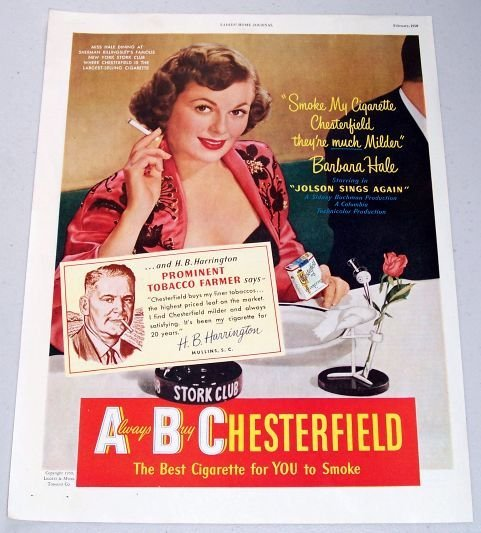 1950 Chesterfield Cigarettes New York Stork Club Color Print Ad Celebrity Barbara Hale