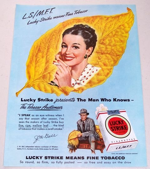 1948 Lucky Strike Cigarettes Color Tobacco Art Vintage Print Ad - J.M. Ball Salem N.C.