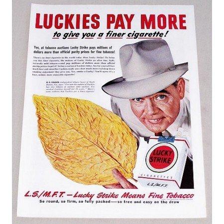1949 Lucky Strike Cigarettes Color Print Ad - A Finer Cigarette