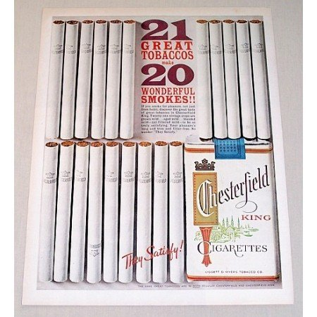 1962 Chesterfield Cigarettes Color Tobacco Vintage Print Ad