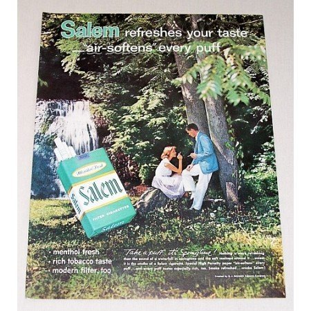 1962 Salem Cigarettes Color Print Ad - Air Softens Every Puff
