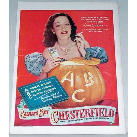 1947 Chesterfield Cigarettes Color Print Ad Celebrity Dorothy Lamour