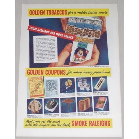1942 Raleigh Cigarettes Color Print Ad - Golden Tobaccos
